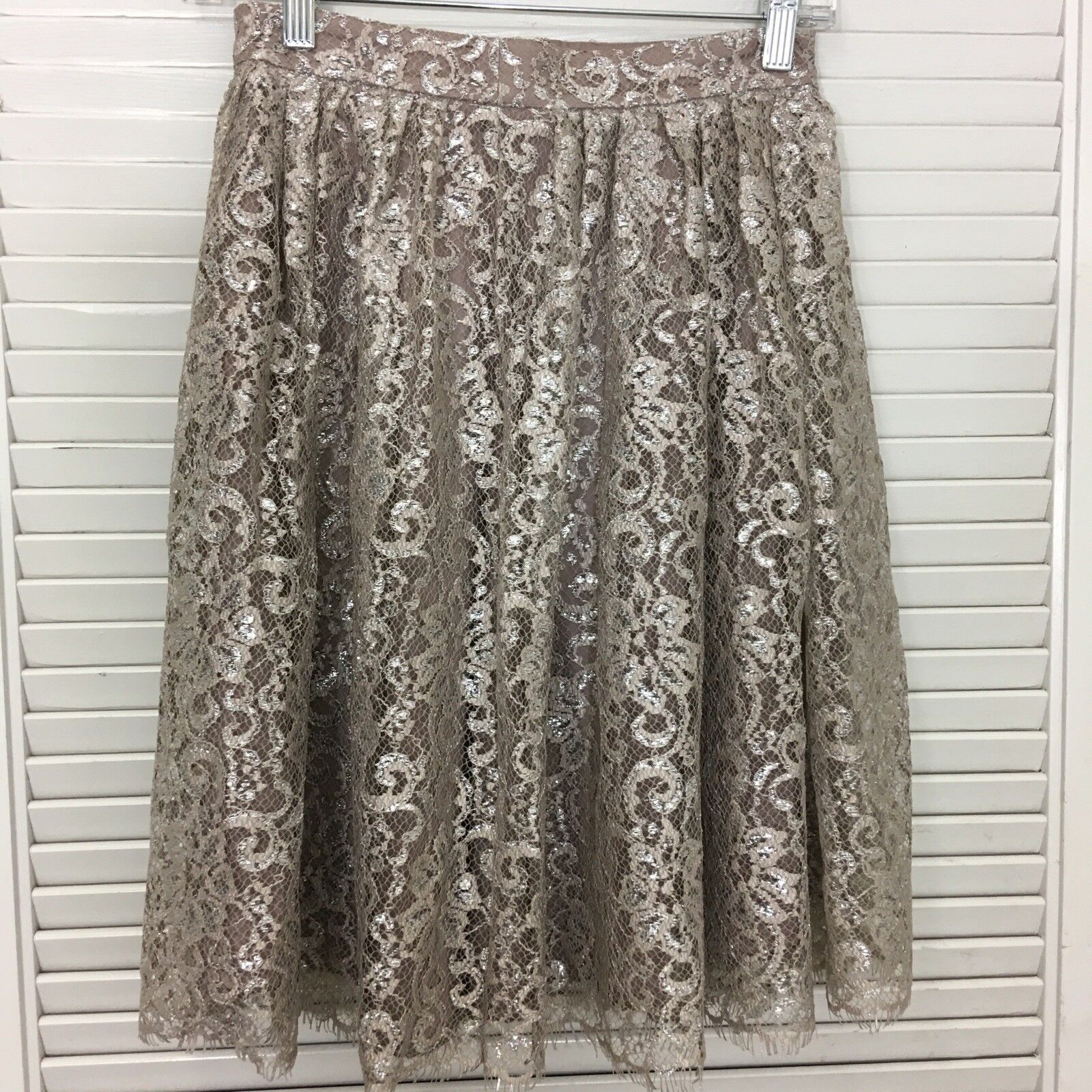 Anthropologie HD In Paris Skirt Metallic gold Lace Glitter Floral Knee Modest 0