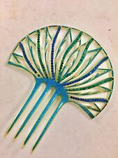 True Vintage Antique Celluloid Art Deco Flapper 1920s Hair Comb Peacock