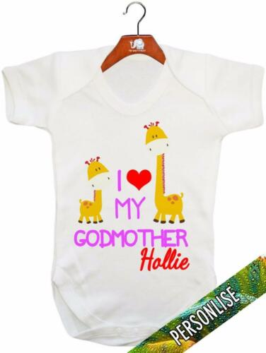 Baby Grow I Love My Godmother /'PERSONALISED/' Baby Vest Baby Playsuit