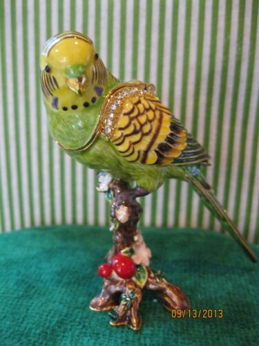 PARAKEET  ~ BEJEWELED TRINKET BOX  WITH AUSTRIAN CRYSTALS ~ #3702