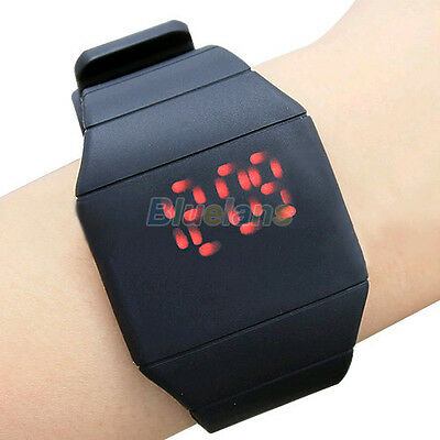 Fashion Mens Womens Touch Red LED Digital Display Silicone Sports Wrist Watch B2