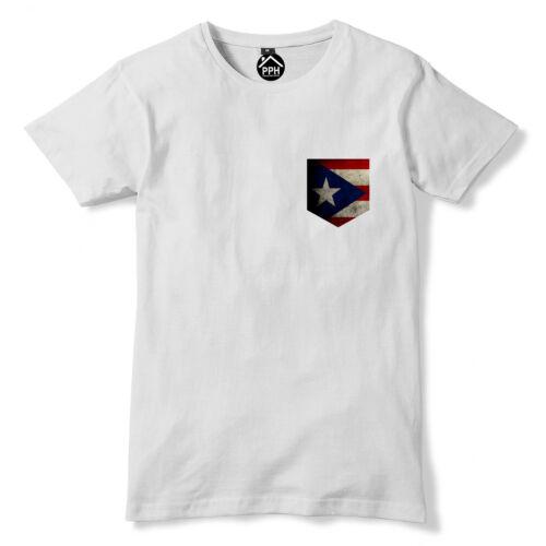 Vintage Print Pocket Puerto Rico Flag Tshirt Sport Train Football T Shirt 294