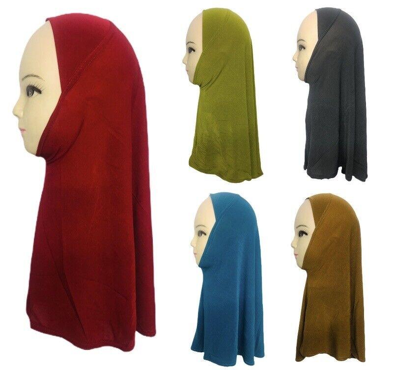 New Kids Small Girls One Piece Hijab Headscarf Plain Stretchy Lycra Muslim