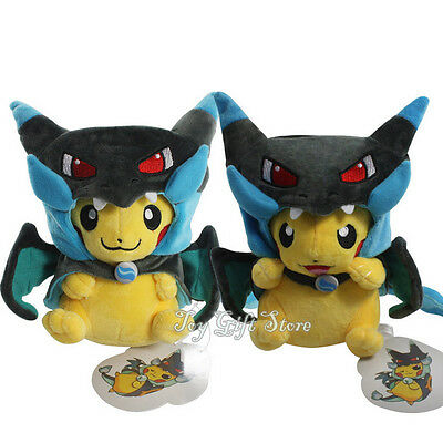 "2PCS Poke Plush Doll Stuffed Toy Pikachu Mega Charizard X Pikazard 9"""