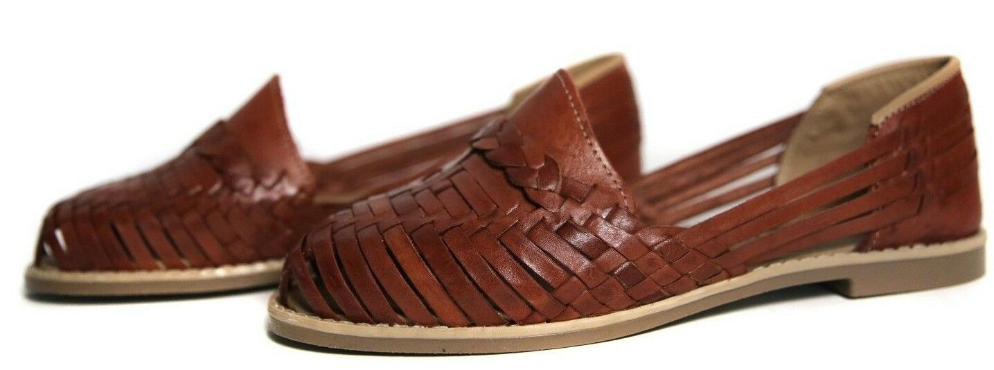 CLASSIC WOMEN'S Closed Toe Mexican Huarache Sandals - BROWN - Leather Handmade