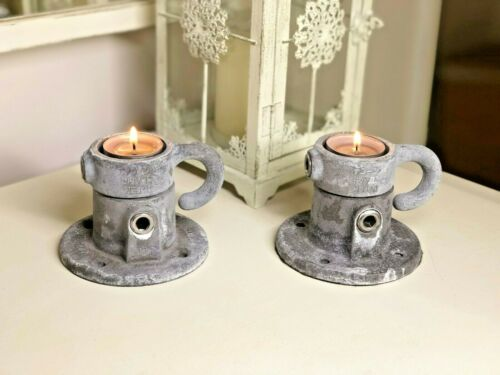 Rustic /& Heavy Duty Weathered Industrial Tea Light Candle Holder; Scaffold