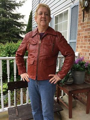 vintage 1970s genuine leather jacket men size 42 Small brown