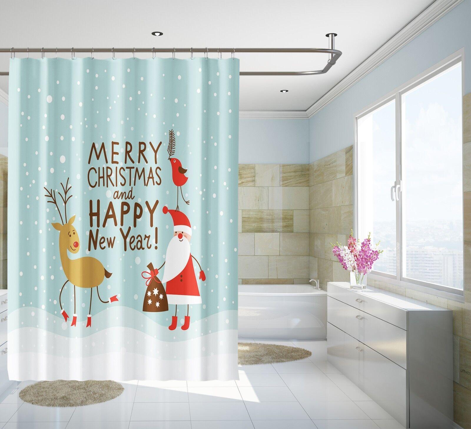 3D Santa Claus 341 Shower Curtain Waterproof Fiber Bathroom Home Windows Toilet