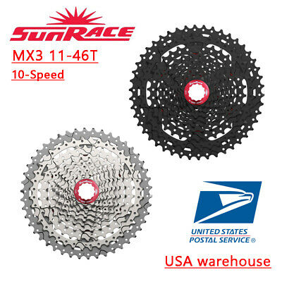 SunRace CSMX3 MX3 Cassette 10 Speed 11-46T  Black Silver MTB