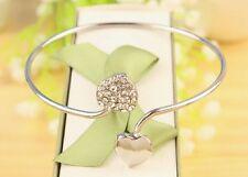 #3042 New Rhinestone Double Peach Heart Opening Silver Bangles Bracelet