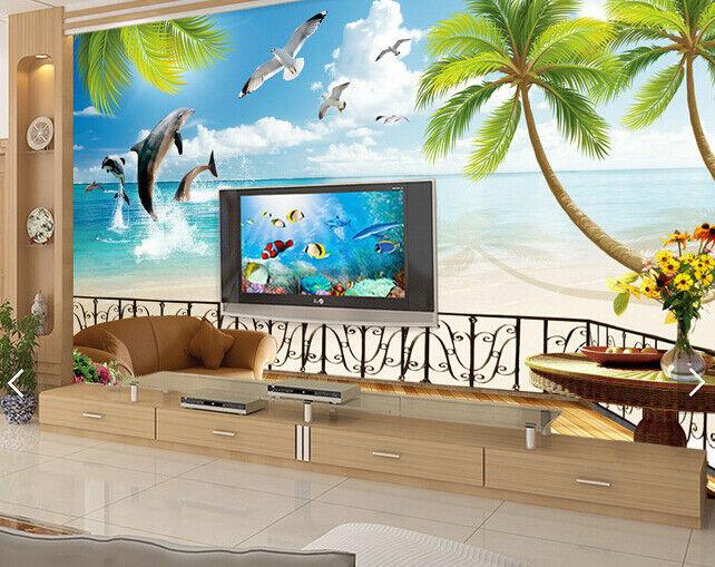 3D Dolphin Landschaft 57 Tapete Tapeten Mauer Foto Familie Tapete Wandgemälde DE