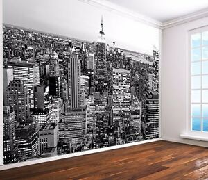 New york black and white wallpaper wall mural empire state for Black and white new york mural wallpaper