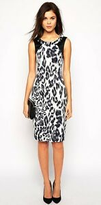 NewWT-Karen-Millen-pastel-black-animal-leopard-print-shift-dress-UK-10-12-16