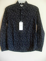 Next Men's Black Cross Patterned Long Sleeved Shirt, Size XS & S, BNWT