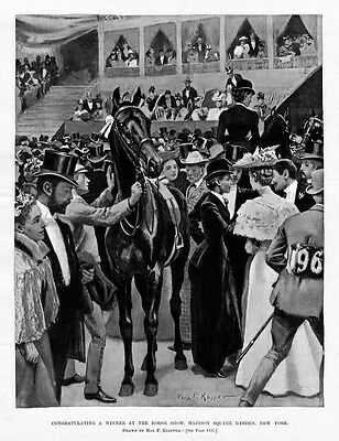 HORSE SHOW WINNER AT MADISON SQUARE GARDEN SADDLE GOWNS BONNETS FASHION KLEPPER
