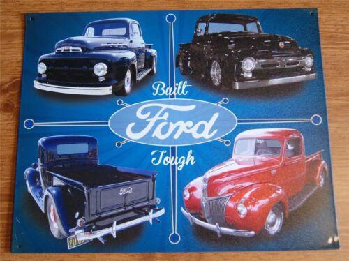 Vintage Tin Metal Sign Ford Tough garage old F150 Pickup truck built shop 98477