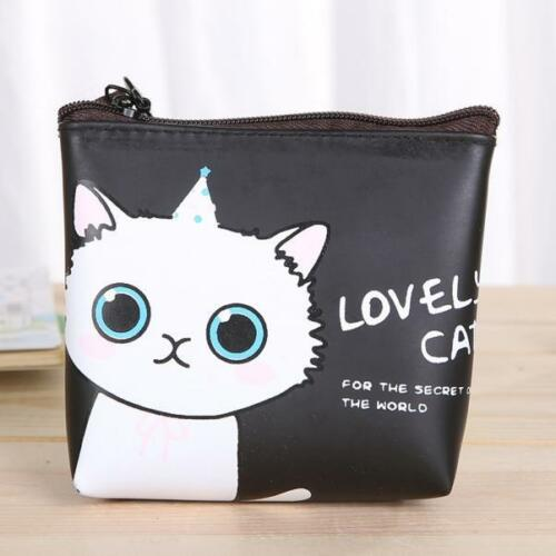 Süß Damen Mädchen Katze Modisches Portemonnaie Tasche Wechselgeld Beutel