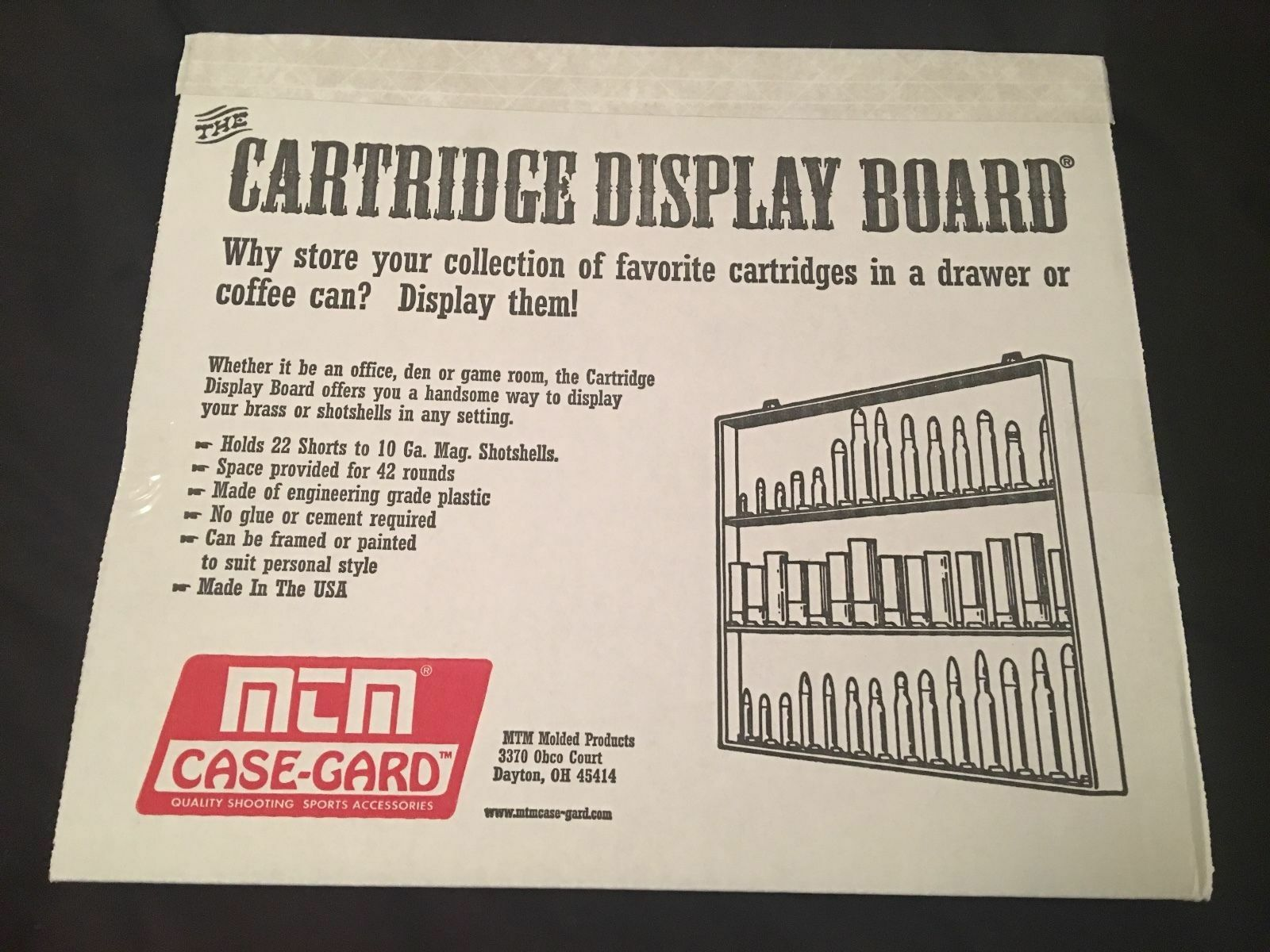 MTM CASE-GARD 42 Ammo Cartridge Display Board for Ammunition Collectors CBD-1-40