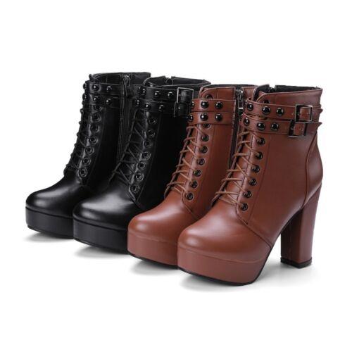 Neu Schnalle Nieten Damen Blockabsatz Schnürstiefeletten zip Plateau boots 47 48