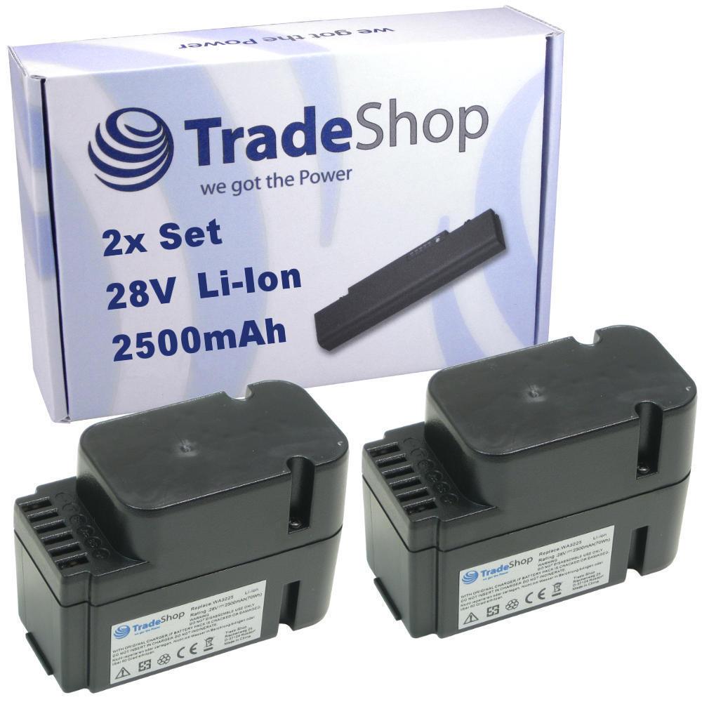 2x Premium AKKU 28V 2500mAh Li-Ion für Worx Landroid L1500i WG798E M500B WG755E