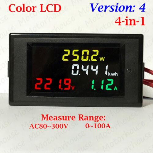 AC80-260V 220V 110V 100A 20A LCD Digital Volt Watt Power Meter Ammeter Voltmeter