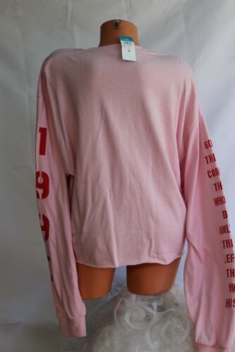 GILDAN Stretch Pink Knit Pullover Tee Top Cropped Red Graphics XL 1X