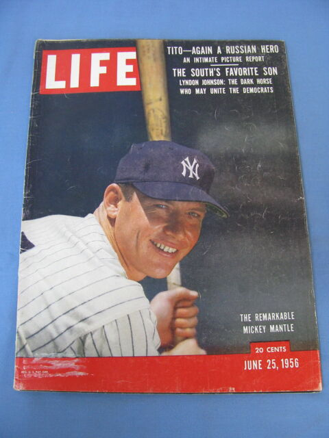 LIFE MAGAZINE JUNE 25 1956 NY YANKEES MICKEY MANTLE COVER NICE!!
