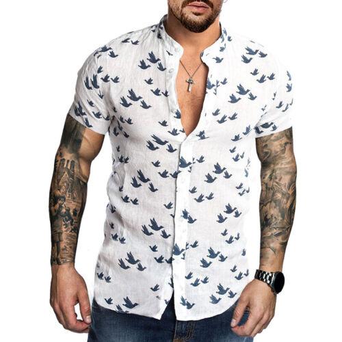 Herren Tierdruck Kurzarmshirt Strand Leinenhemd Sommer Oberteil Geknöpftes Hemd