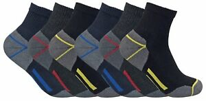 3-6-12-Pairs-Mens-Cotton-Work-Short-Quarter-Socks-Stockings-Reinforced-sponge
