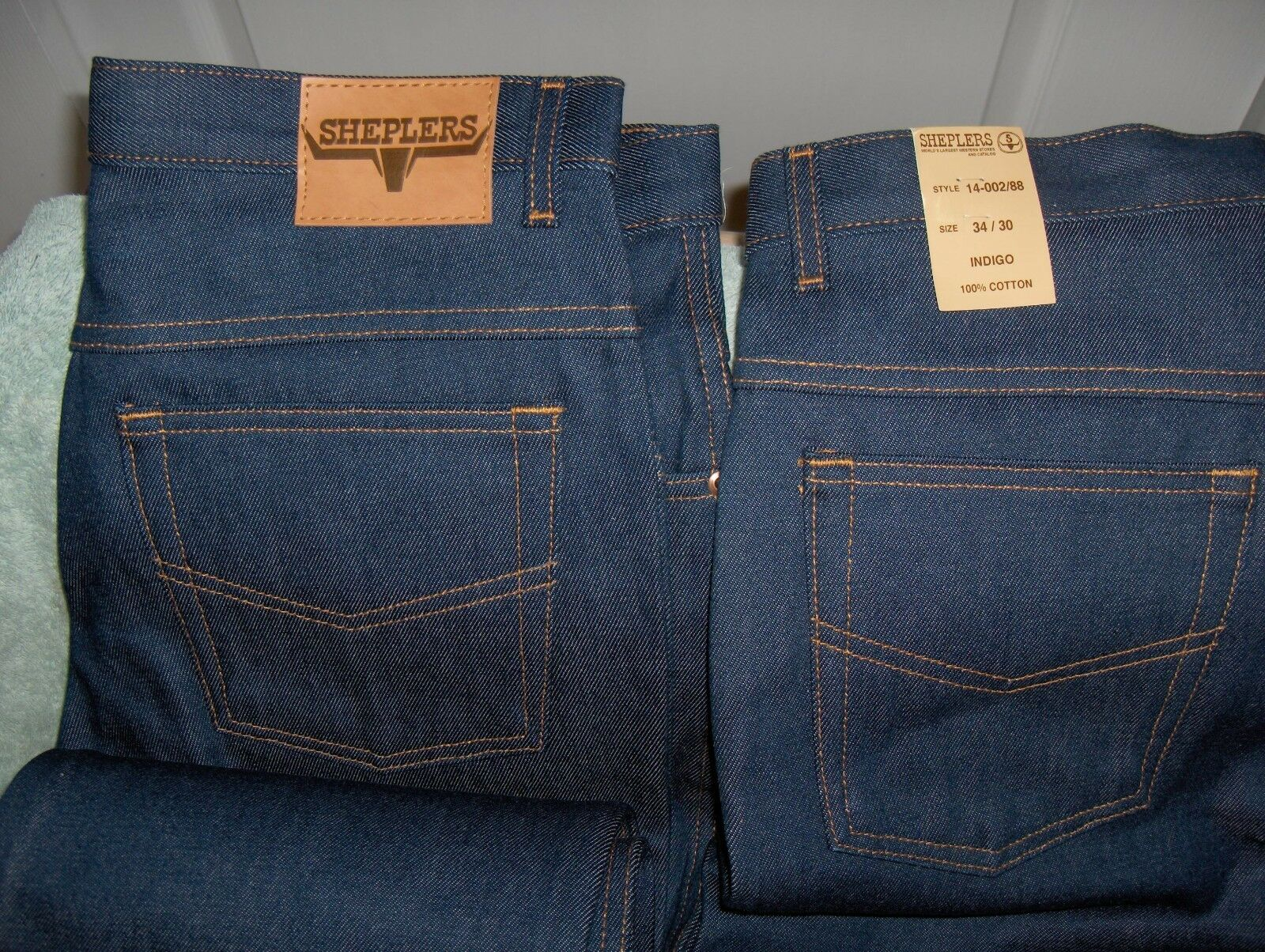 Lot of 2 Sheplers 100 % Cotton INIGO Heavy Duty bluee Jeans 34 X 30 New with Tags