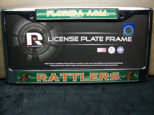 FLORIDA RATTLERS METAL CHROME LICENSE PLATE FRAME FLORIDA A/&M UNIVERSITY