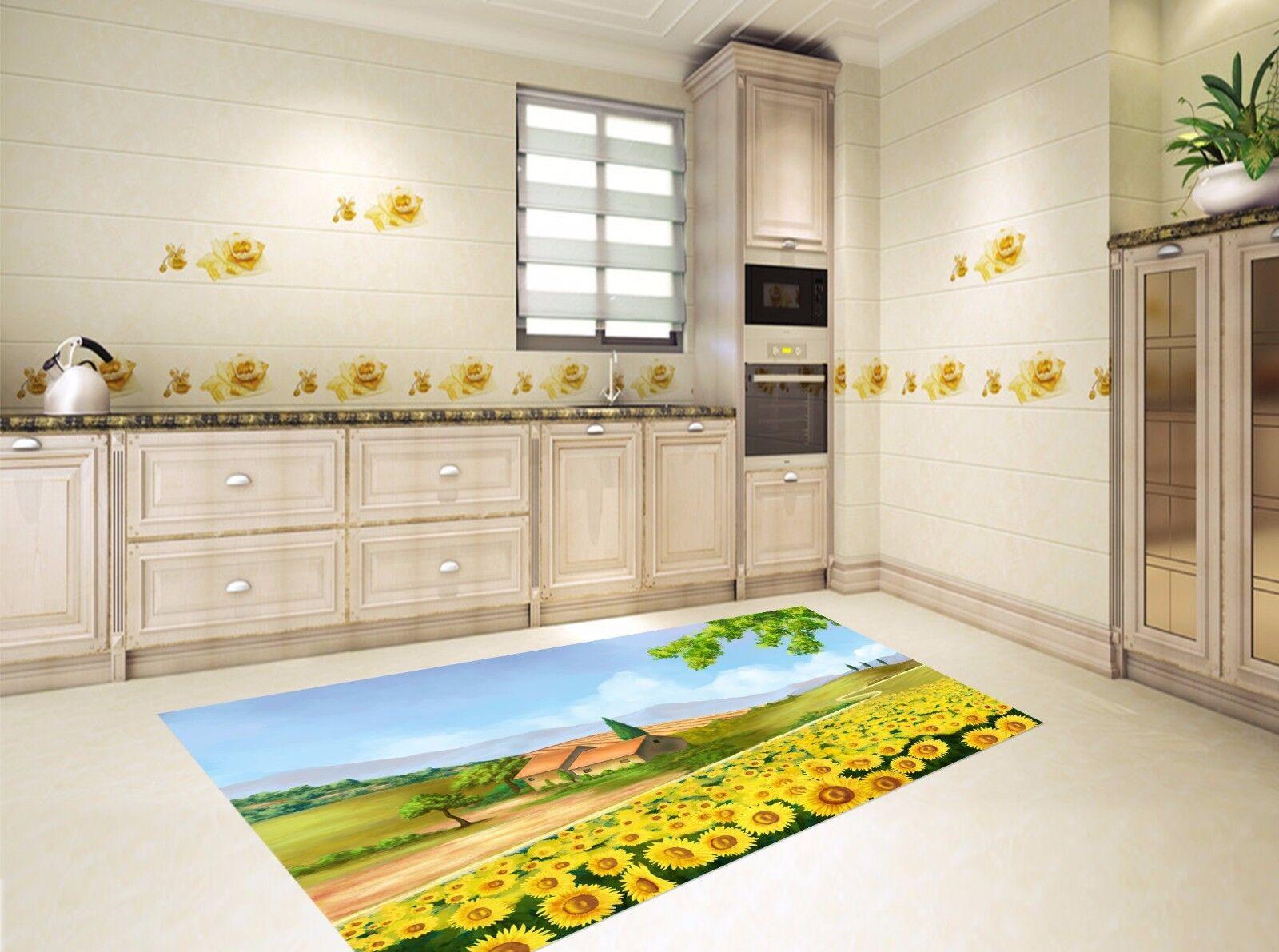 3D Sunflowers Hut Kitchen Mat Floor Murals Wall Print Wall Deco AJ WALLPAPER AU