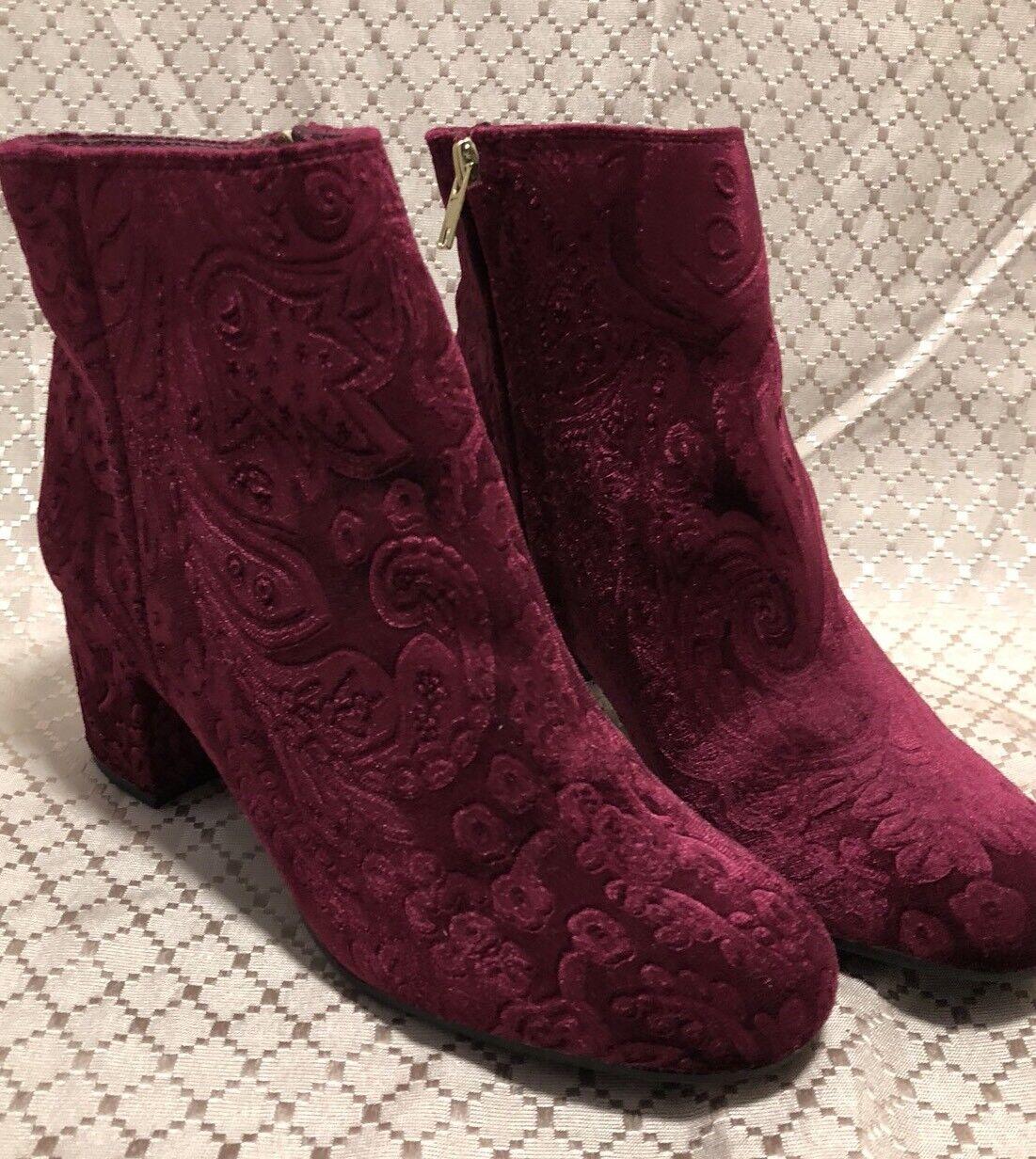 Zigi Soho Nydia Ankle Bootie Block Heel Red Jacquard Brocade Size US 8