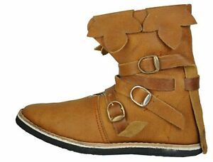 Roman Armor Medieval Viking Camel Color Handmade Leather Boots For Armor