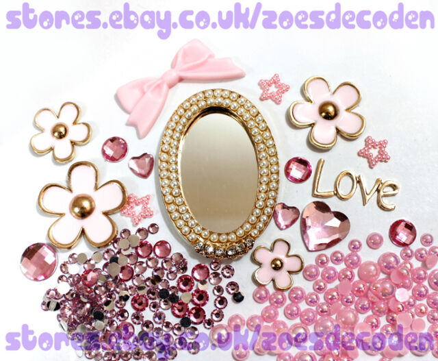 DIY cell phone case bling pearl mirror flower crystal cabochon decoden deco kit