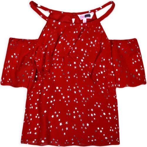 Girls Cold Shoulder Star Chiffon Top New Kids Party Dance Summer T-shirt 7-14 Yr
