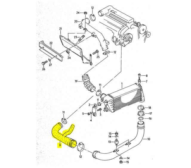 Rare Oem Audi 200 3b 20v Turbo Engine Charge Air Pressure Hose
