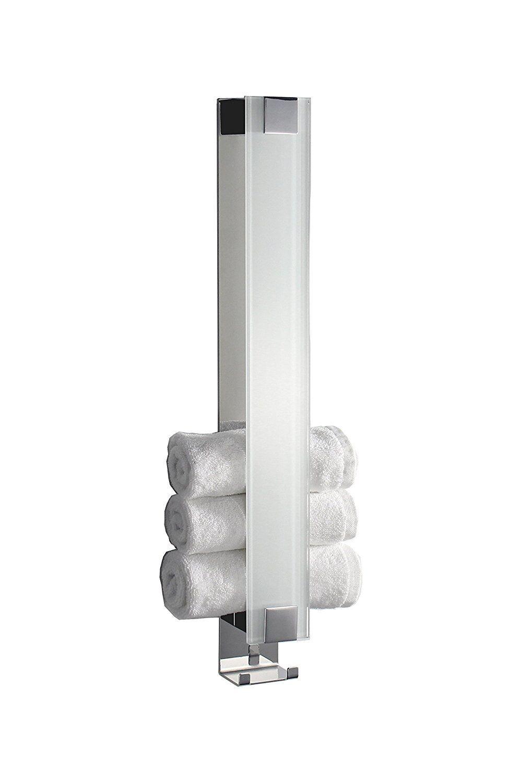 Schöner Gästetuchhalter mit Haken und Glas weiß  Handtuchhalter  Made in Germany