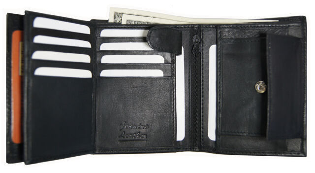 Cowhide Leather Multi Card Holder with Gift Box AG Wallets Mens Trifold Wallet