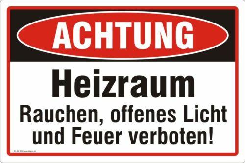 Heizraum Achtung Schild Rauchen Feuer offenes Licht verboten Nr 3333