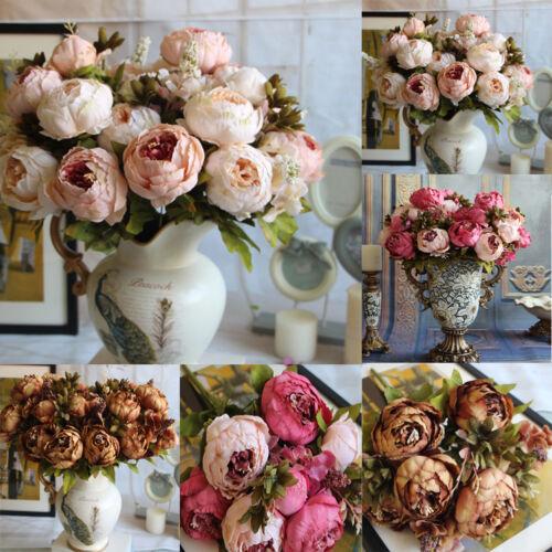 Künstliche gefälschte Pfingstrose Seide Blume Braut Hortensien Hochzeit Dekor HA