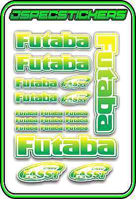 FUTABA RC STICKERS A5 SHEET R//C PLANE CAR BUGGY HELI REMOTE CONTROL GREEN YELL W