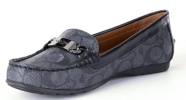5f1aa5c7d3c Coach Olive Signature Loafer Driver Moc Loafer Flat Shoe Black-Smoke Black 6