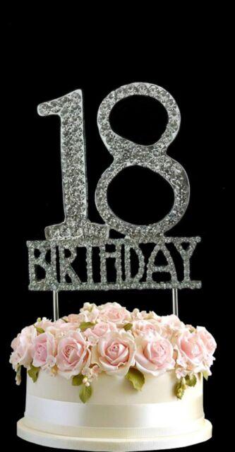 vincenza crystal happy 18th birthday cake topper rhinestone diamante