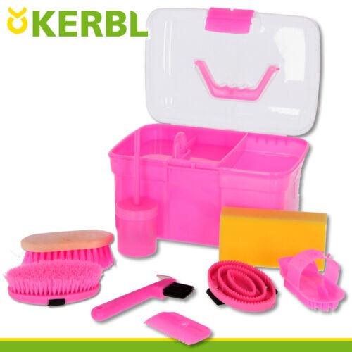 Kerbl Putzbox für Kinder mit 8 Zubehörteilen zur Pflege des Pferdesrosa