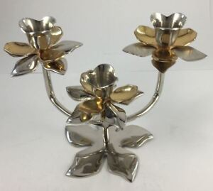 Two-tone-STAND-for-3-DINNER-CANDLES-LOTUS-DINNER-CANDLE-STAND-14cm-X19cm