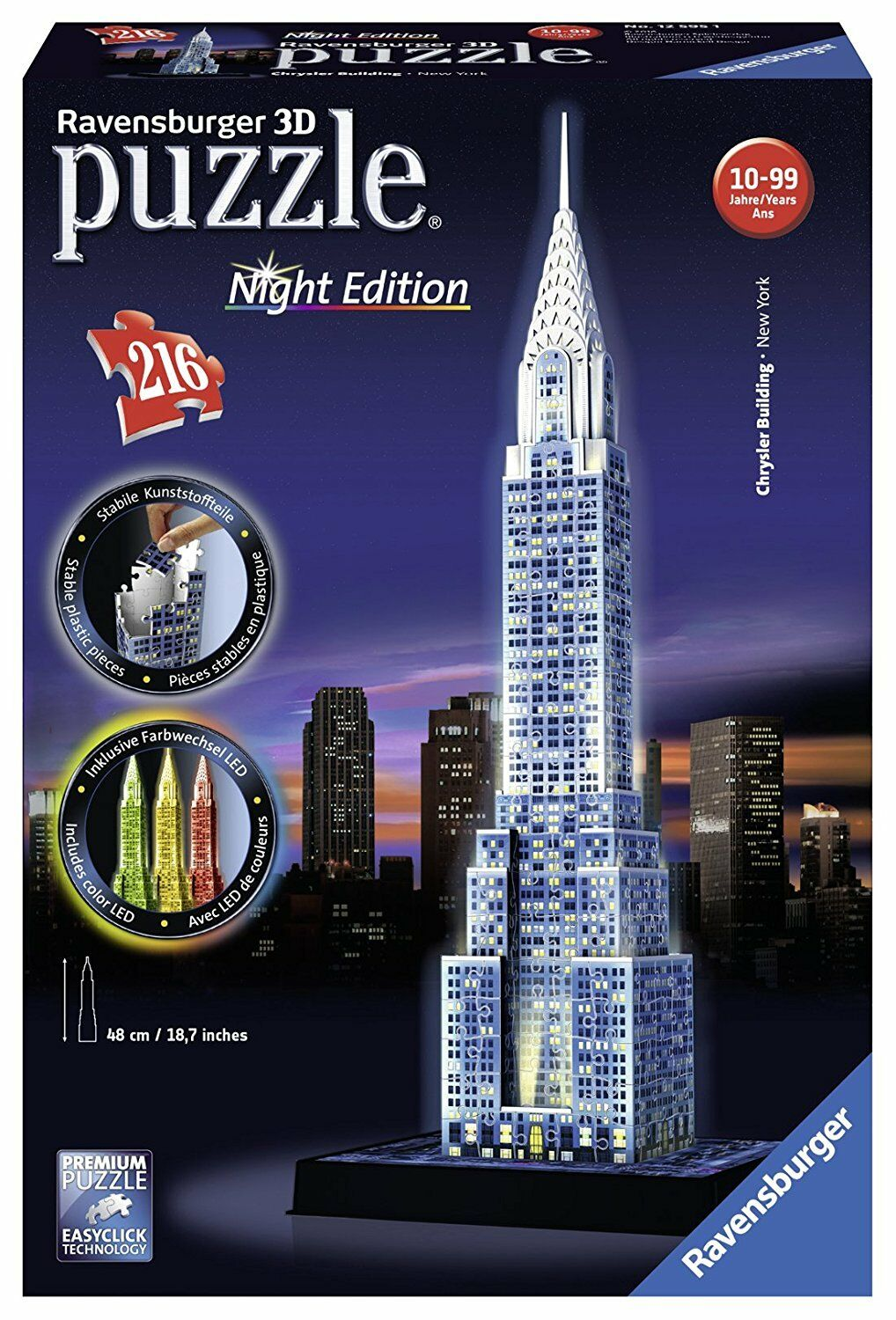 RAVENSBURGER CHRYSLER BUILDING NIGHT EDITION 3D PUZZLE 216PC - NEW & SEALED