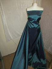 "1M TWO TONE PETROL DRESS  COLOURED  TAFFETA  FABRIC 58"" WIDE"
