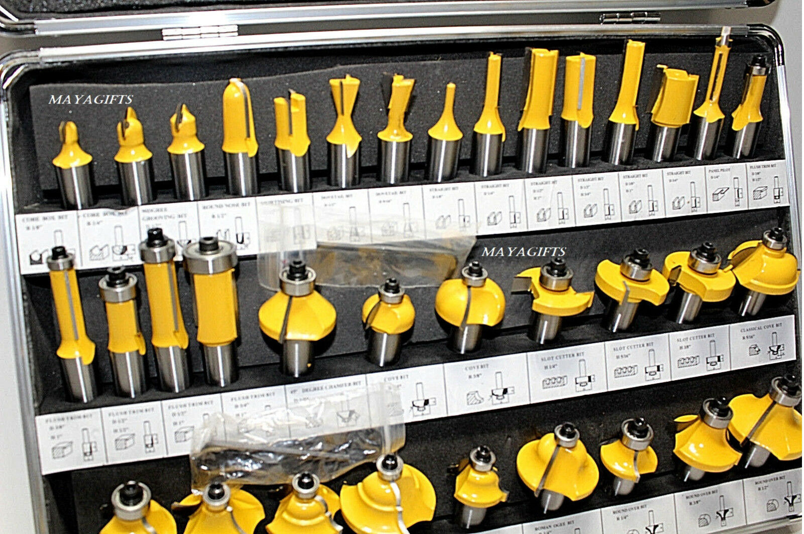 35pc 1 2  Shank Woodwork Milling Cutter Carbide Router Carving Knife Tools SAE