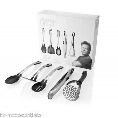 Jamie Oliver 5 Piece Utensil Set Stainless Steel Masher Tongs Spoon Turner
